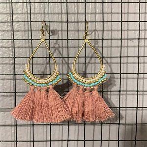 Jewelry - Mauve beaded thread hanging earrings hoops